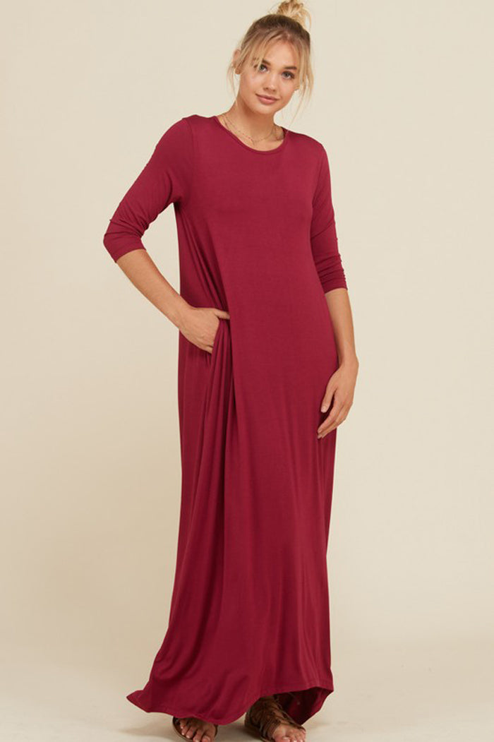 Frankie Loose 3/4 Sleeve Maxi Dress : Berry