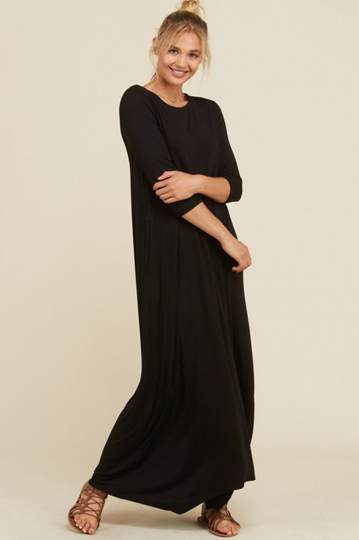 Frankie Loose 3/4 Sleeve Maxi Dress : Olive