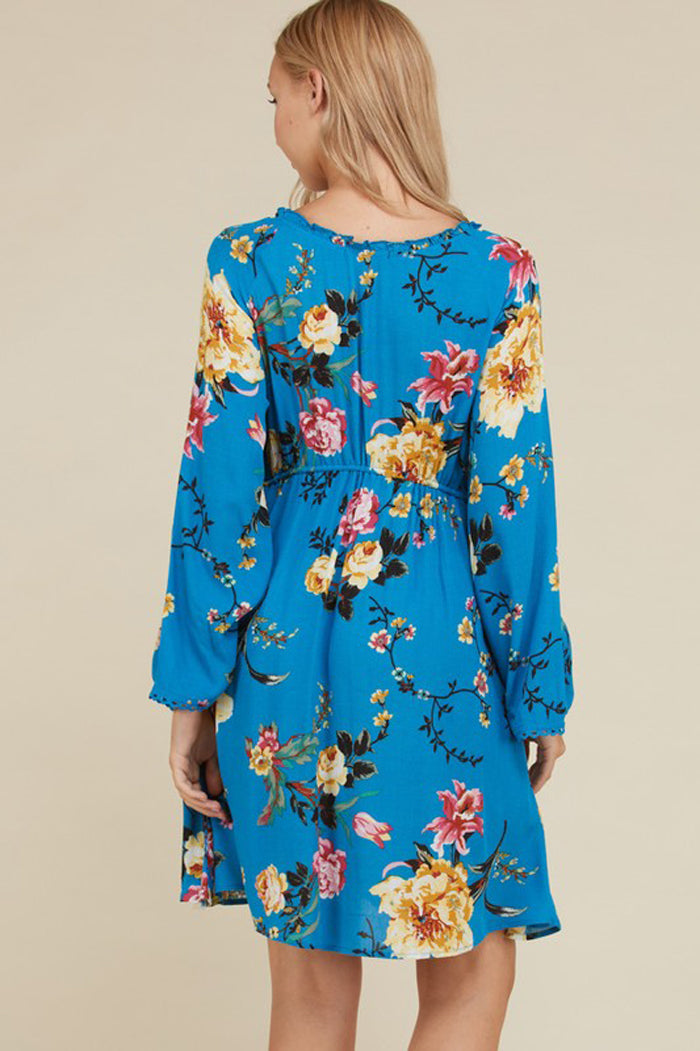 Gabbie Bell Sleeve Floral Dress : Blue