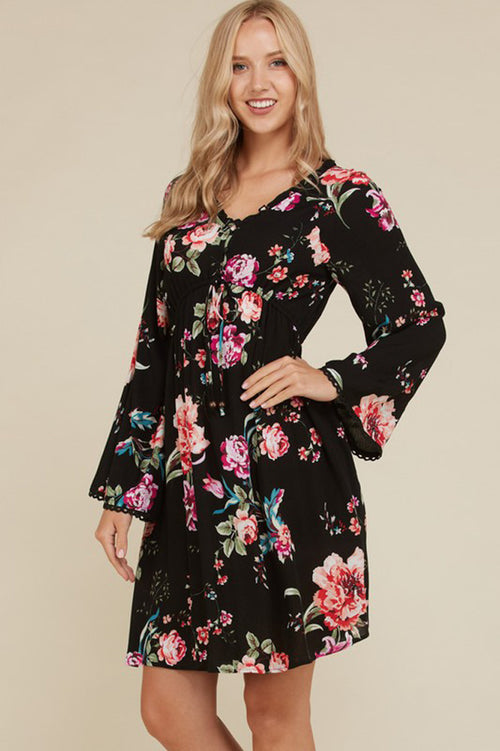Gabbie Bell Sleeve Floral Dress : Black