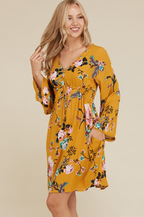 Gabbie Bell Sleeve Floral Dress : Mustard
