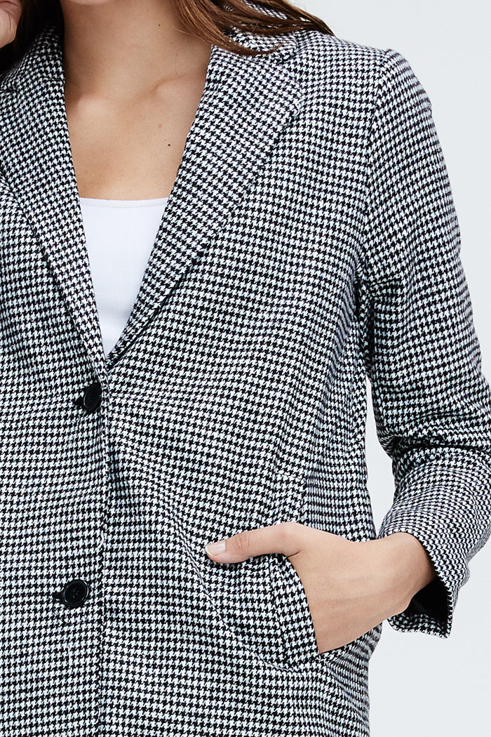 Genevieve Houndstooth Overcoat : Black/White