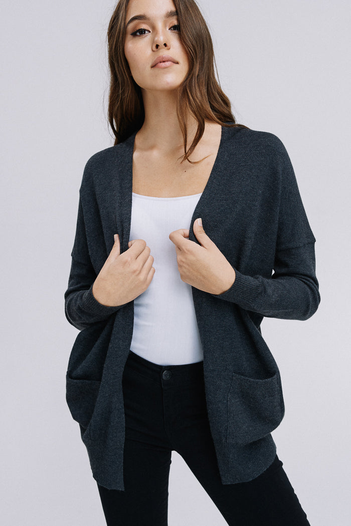 Heather Casual Cardigan : Charcoal
