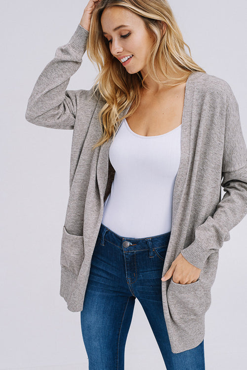 Heather Casual Cardigan : Mocha