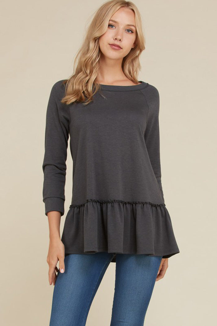 Hilary French Terry Ruffle Hem Top : Charcoal