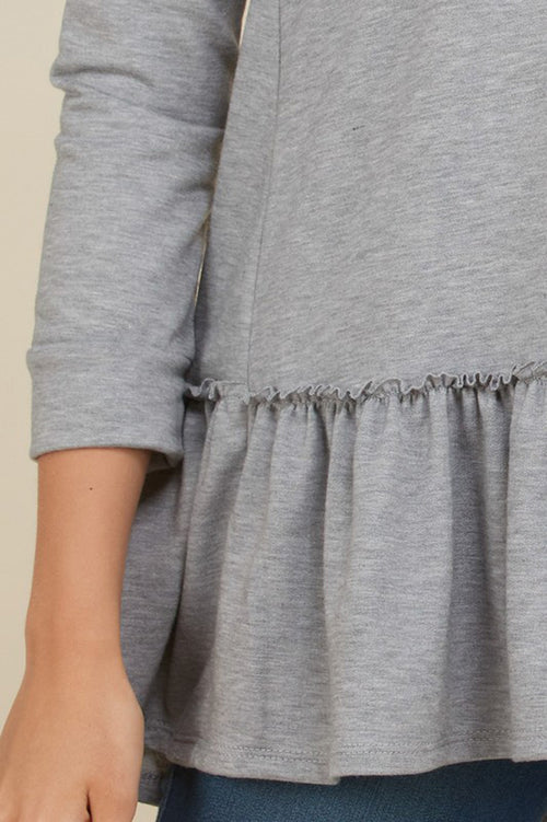 Hilary French Terry Ruffle Hem Top : Heather Grey