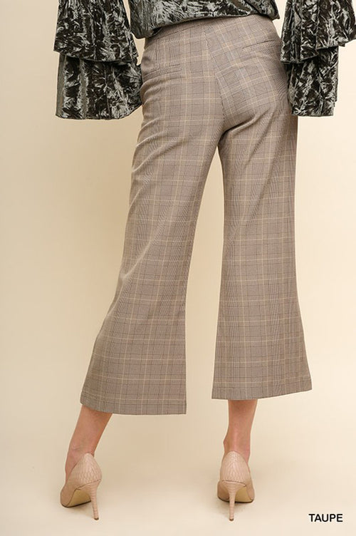 Jackie Plaid Flared Cropped Trousers : Taupe