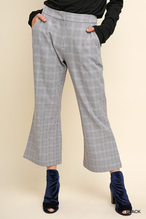 Jackie Plaid Flared Cropped Trousers : Black