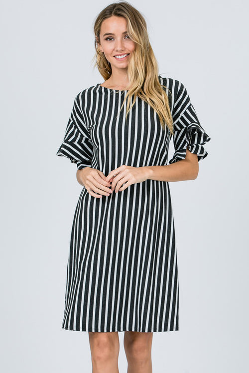 Jill Ruffle Sleeve Stripe Midi Dress : Charcoal/Ivory