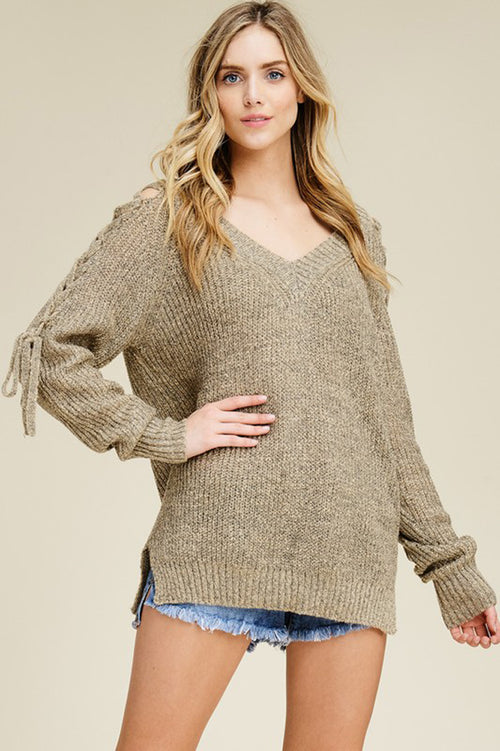 Joan V-Neck Shoulder Tie Sweater Top : Peach