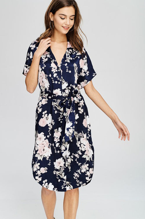 Julie Floral Shirt Dress : Navy