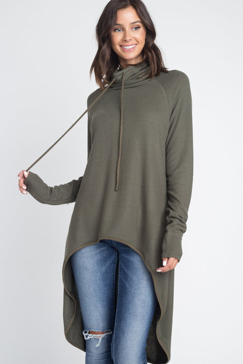 Kelly Cowl Neck Tunic Top : Khaki
