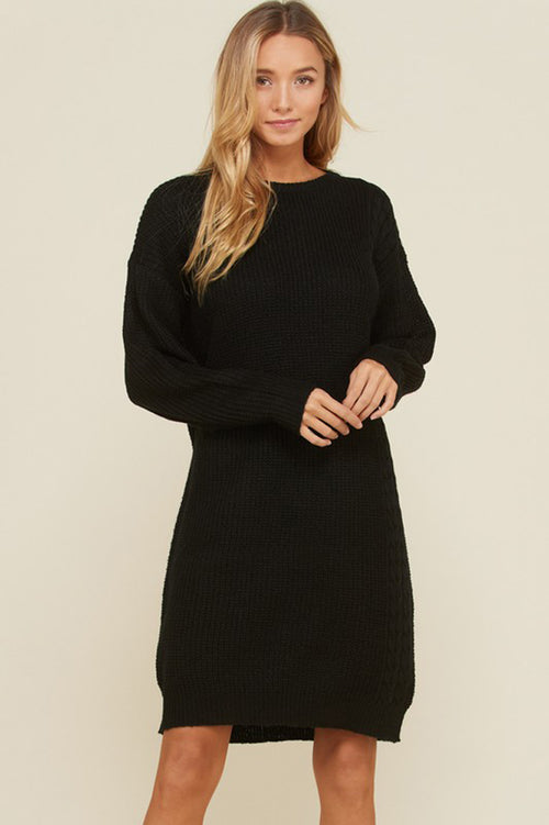 Kimberly Knit Pull Over Sweater Dress :  Black