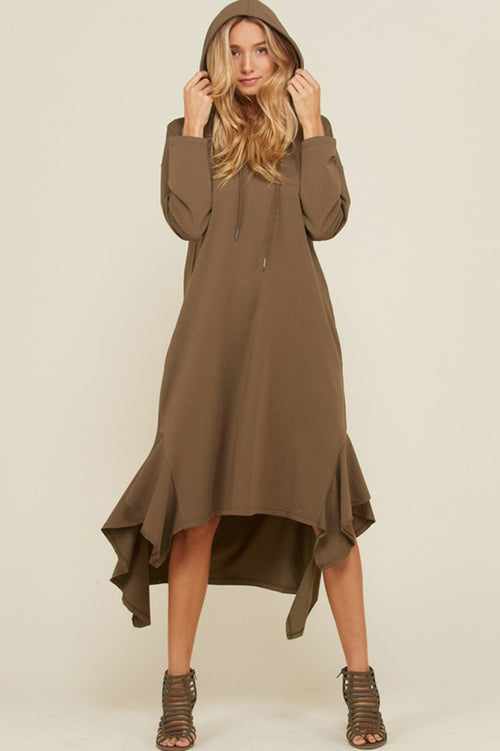 Kristina Long Sleeve Hooded Sweater Dress : Olive