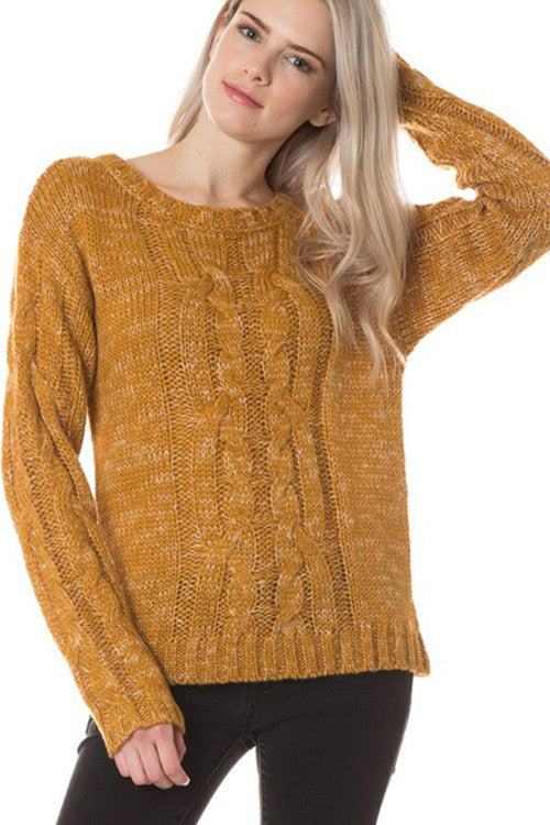 Linda Round Neck Twisted Sweater : Mustard