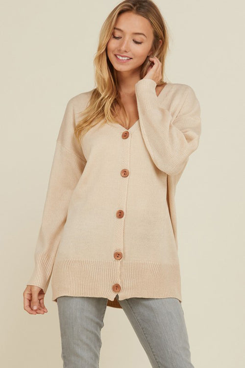 Luna Button Down Cardigan : Beige