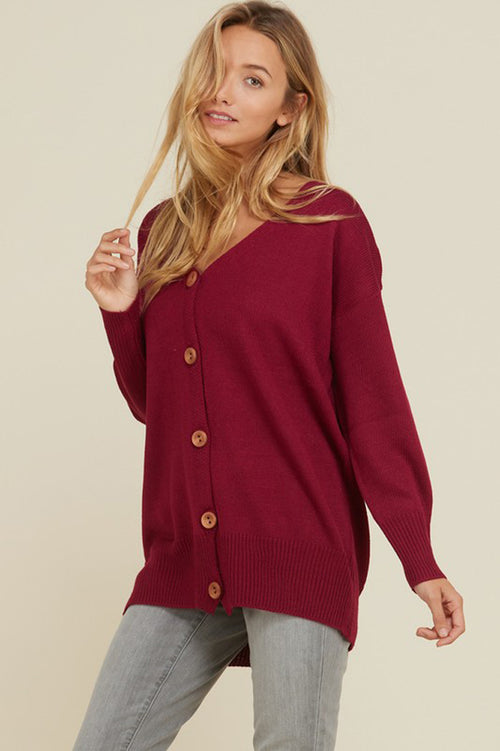 Luna Button Down Cardigan : New Red