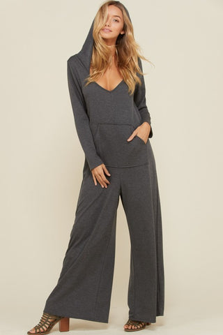 4d8b191a6e1 Madeleine French Terry Hooded Jumpsuit   Mid Grey.  39.00. Monica Polka Dot  Jumpsuits   Navy