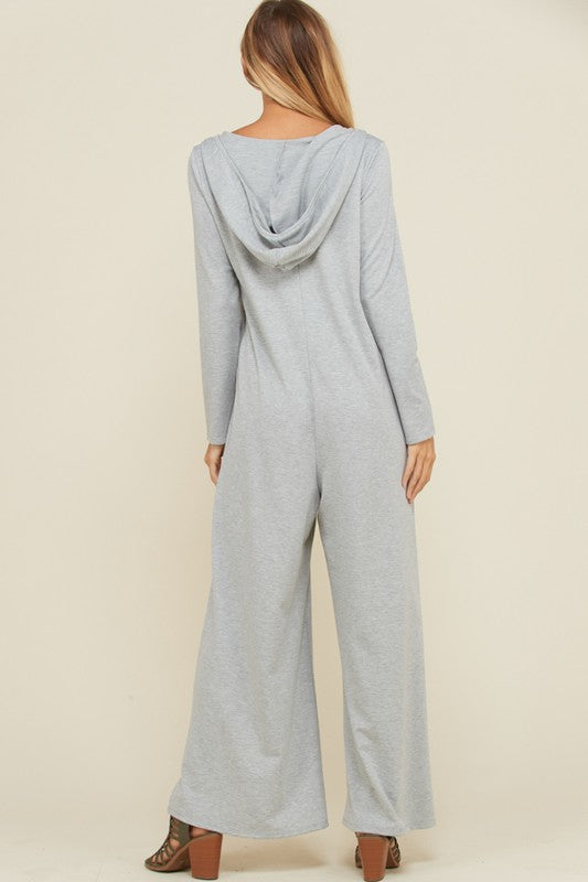 Madeleine French Terry Hooded Jumpsuit : Heather Grey