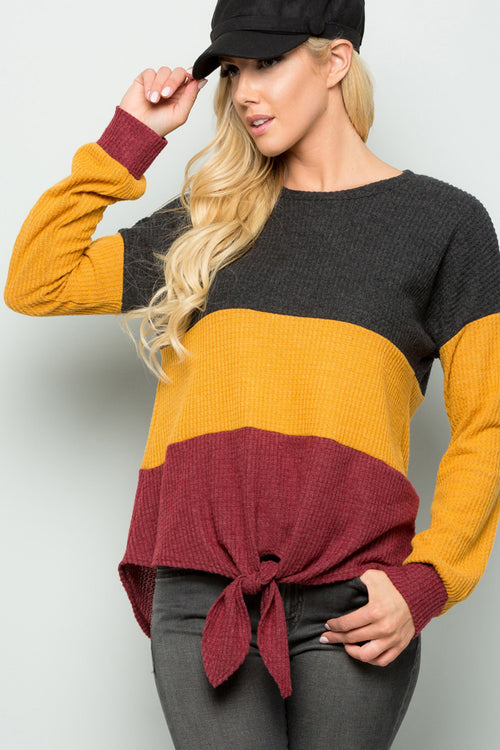 Melanie Color Block Front Tie Top : Charcoal/Mustard