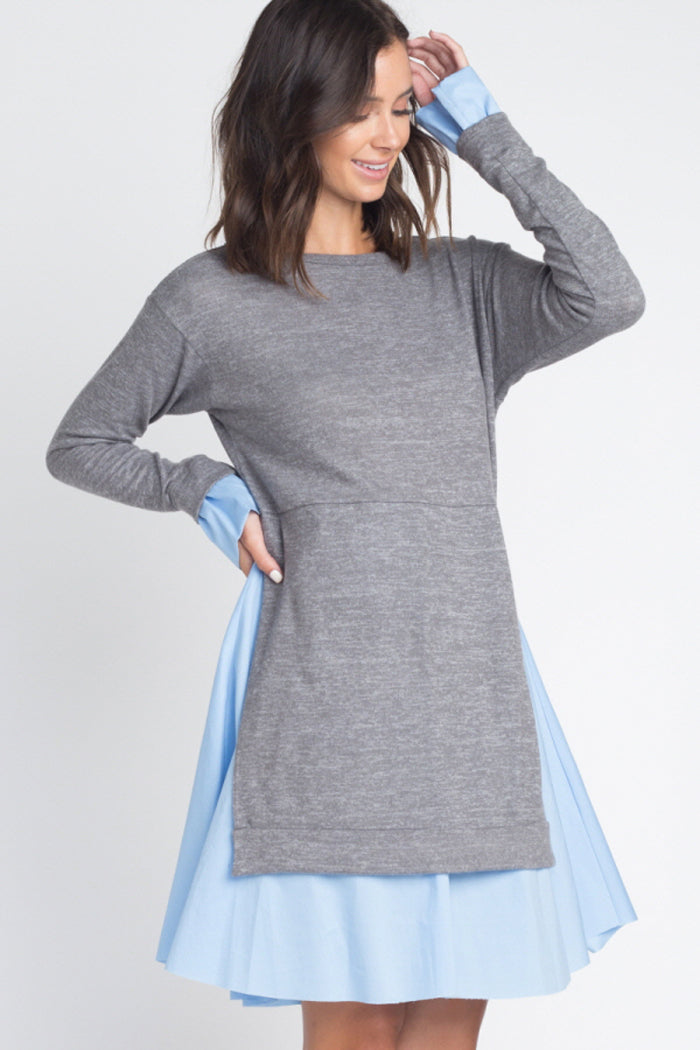 Melinda Casual Twofer Dress : Charcoal