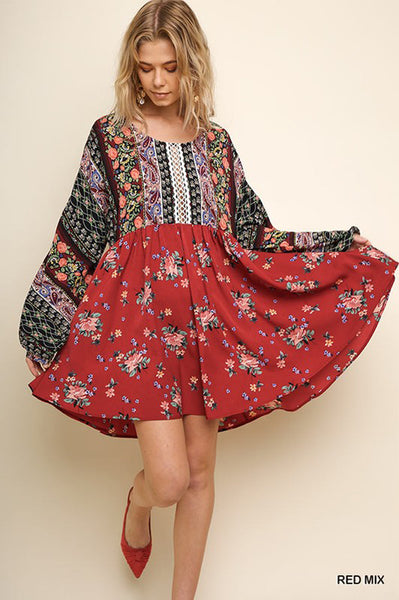 Melissa Boho Floral Puff Long Sleeve Dress : Red Mix