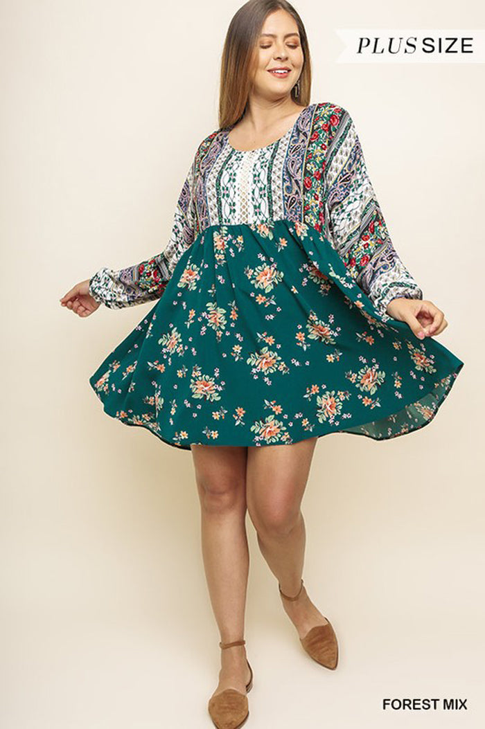 Melissa Boho Floral Puff Long Sleeve Dress Plus : Red Mix