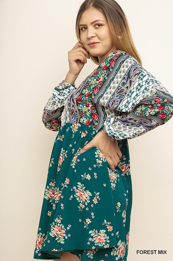 Melissa Boho Floral Puff Long Sleeve Dress Plus : Forest Mix