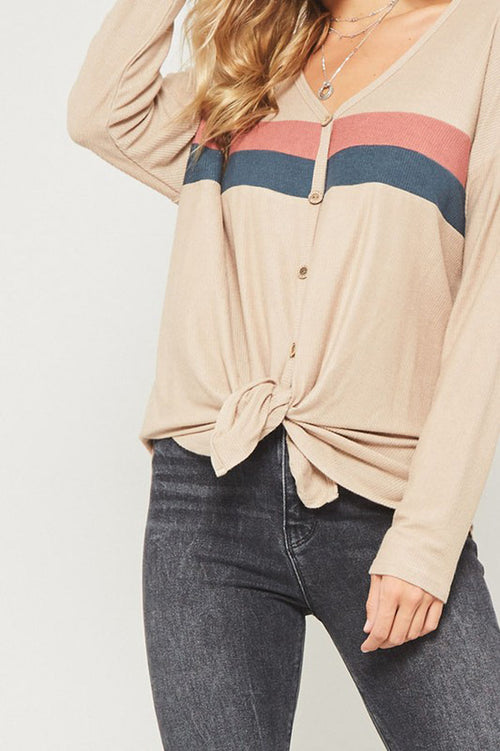 Mia Color Block Thermal Knit Top : Taupe