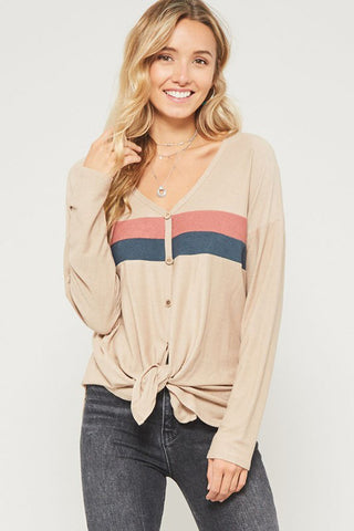 Sophie Multi Stripe Pullover Top : Black/Blush