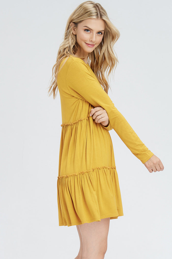 Michelle Layered Baby Doll Dress : Mustard