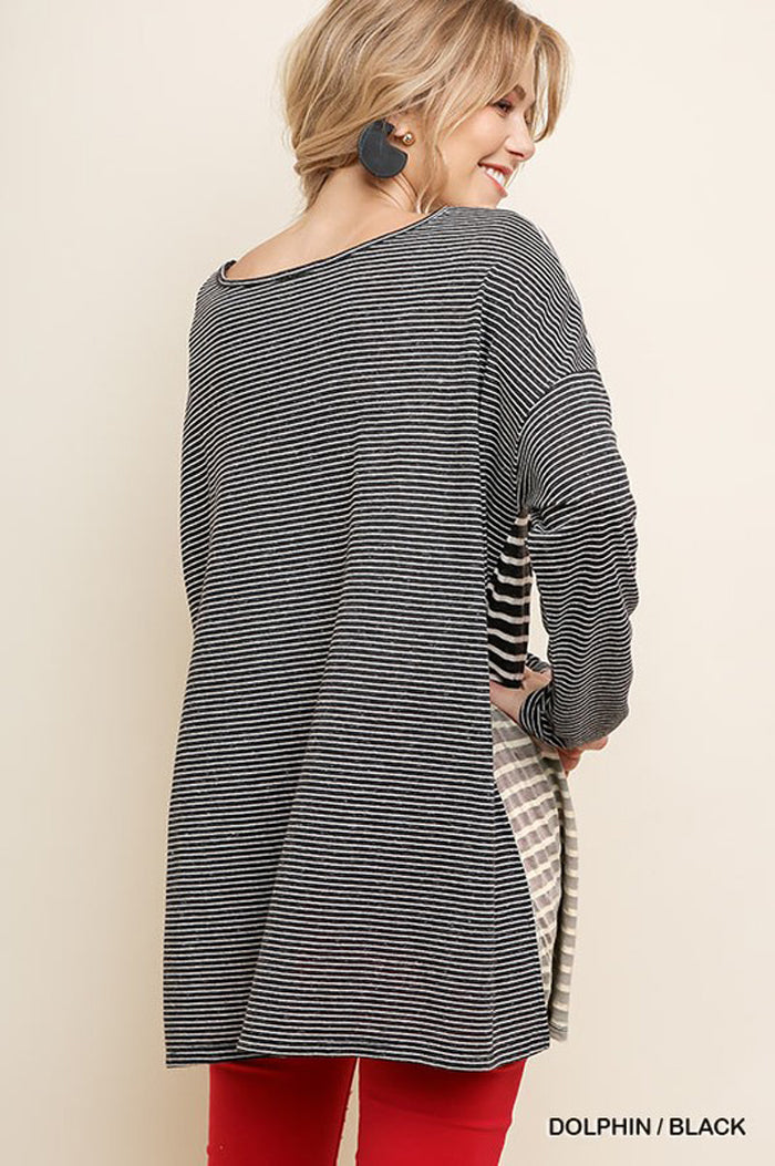 Miley Multi-Color Striped Long Sleeve Top : Dolphin/Black