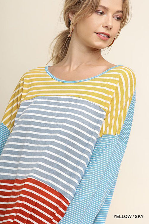 Miley Multi-Color Striped Long Sleeve Top : Yellow/Sky