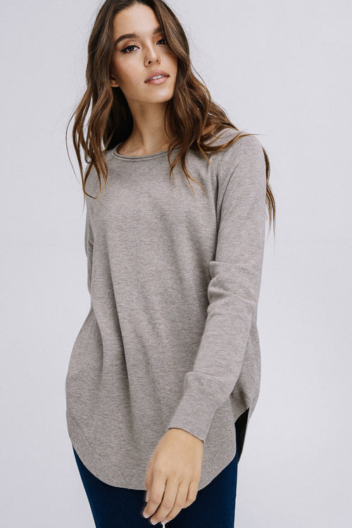 Millie Long Sleeve Tunic Top : Mocha