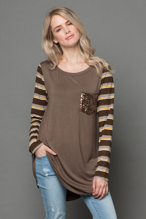 Molly Stripe Sleeve Contrast Tunic Top : Olive
