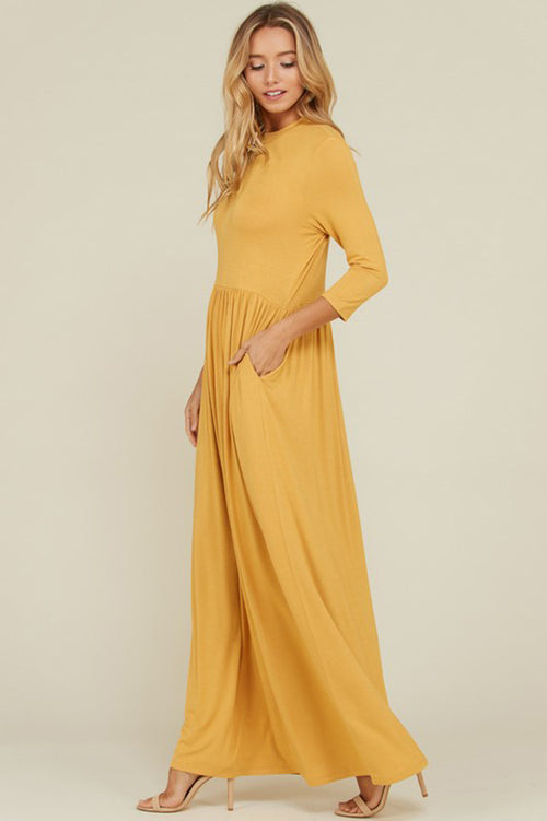Mya Solid 3/4 Sleeve Maxi Dress : Mustard
