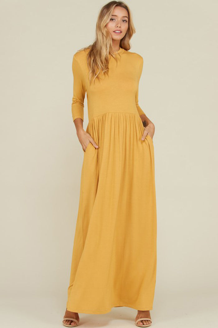 Mya Solid 3 4 Sleeve Maxi Dress Mustard Gozon Boutique