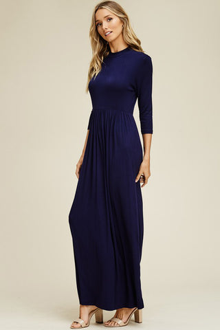 Mya Solid 3/4 Sleeve Maxi Dress : Black