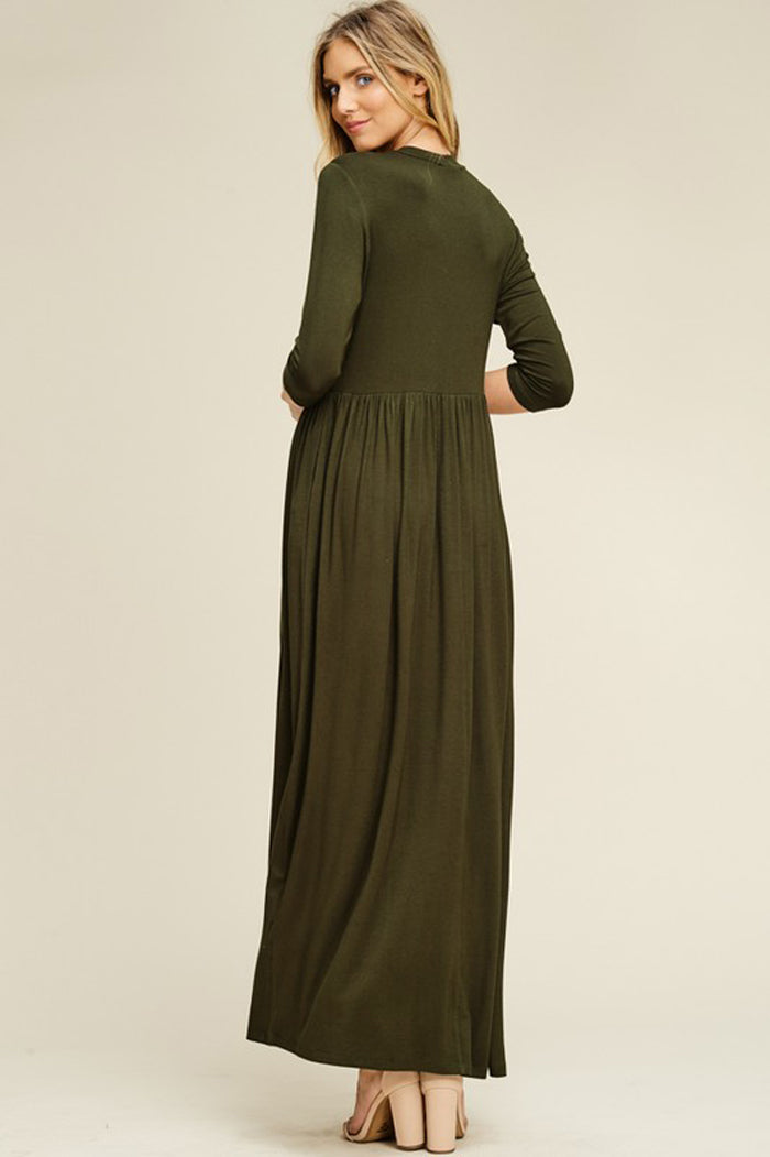 Mya Solid 3/4 Sleeve Maxi Dress : Olive