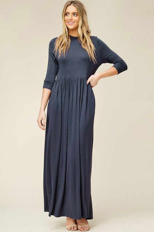 Mya Solid 3/4 Sleeve Maxi Dress : Slate