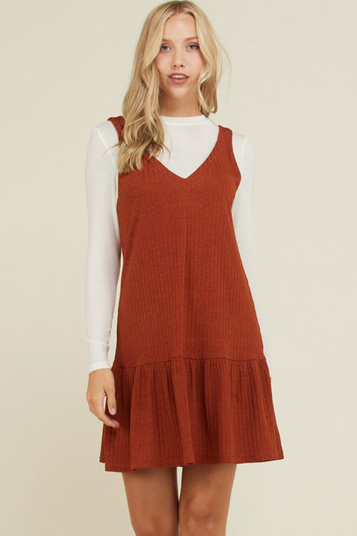 Olivia Hacci Rib Swing Dress : Rust