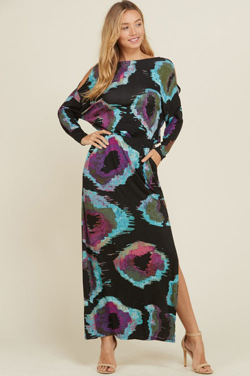 Opal Open Shoulder Maxi Dress : Black