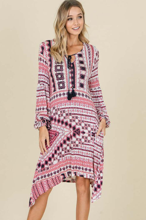 Pamela Boho Asymmetrical Midi Dress : Mauve