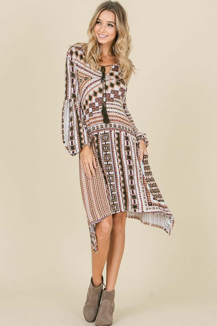 Pamela Boho Asymmetrical Midi Dress : Olive