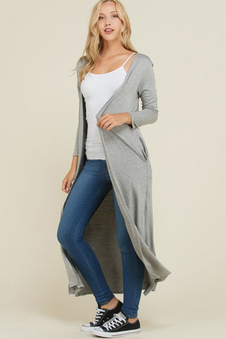 Melissa Ribbed Trim Long Cardigan : Mocha