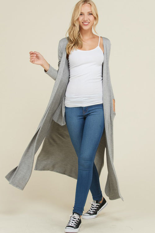 Raina French Terry Cardigan Duster : Heather Grey