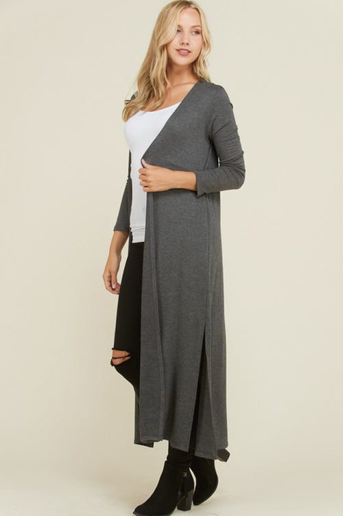 Raina French Terry Cardigan Duster : Mid Grey