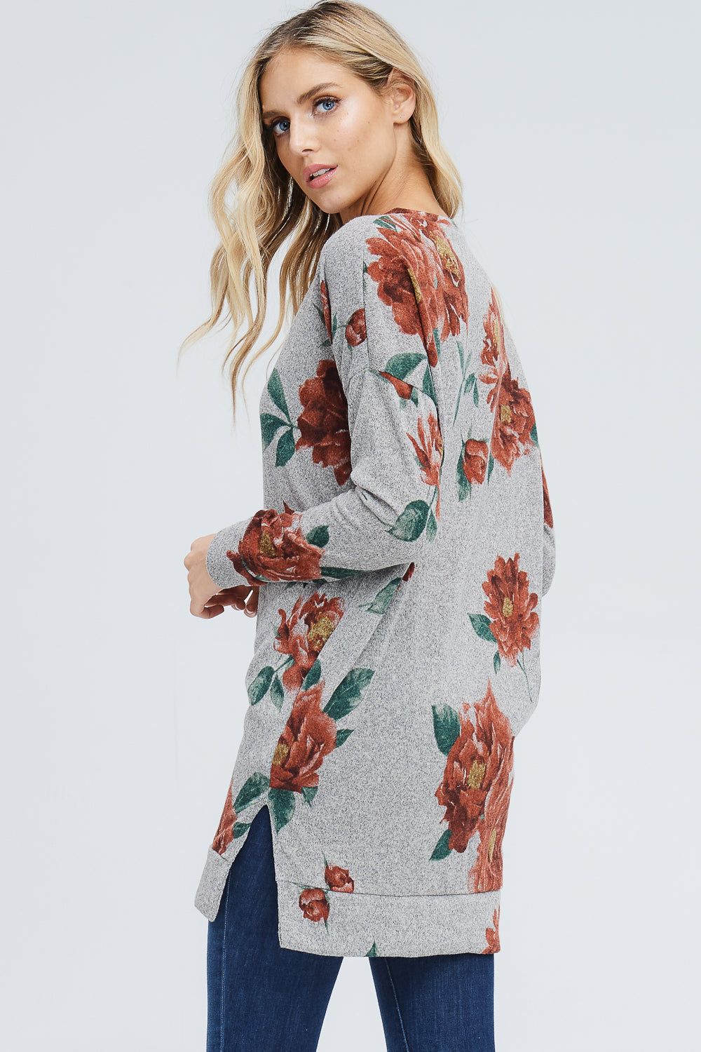 Saffron Floral V-Neck Tunic Top : Mocha
