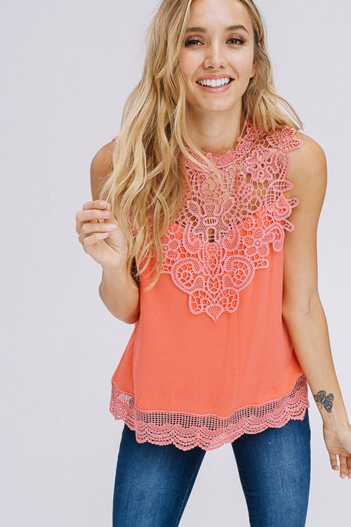 Selena Crochet Neck Top : Peach Pink
