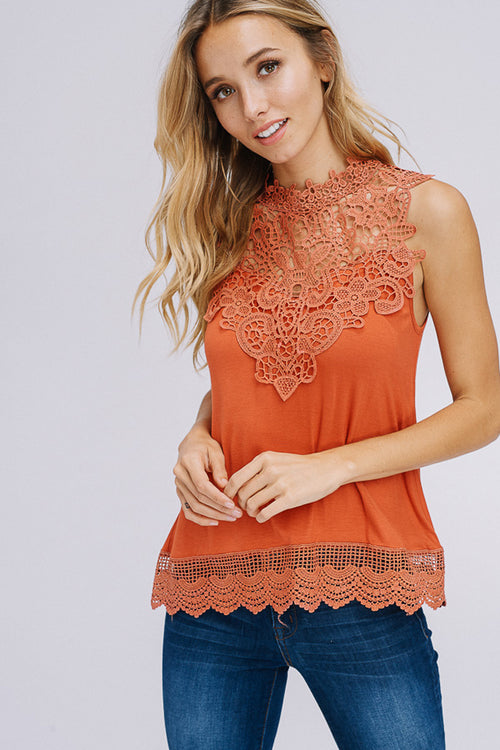 Selena Crochet Neck Top : Rust